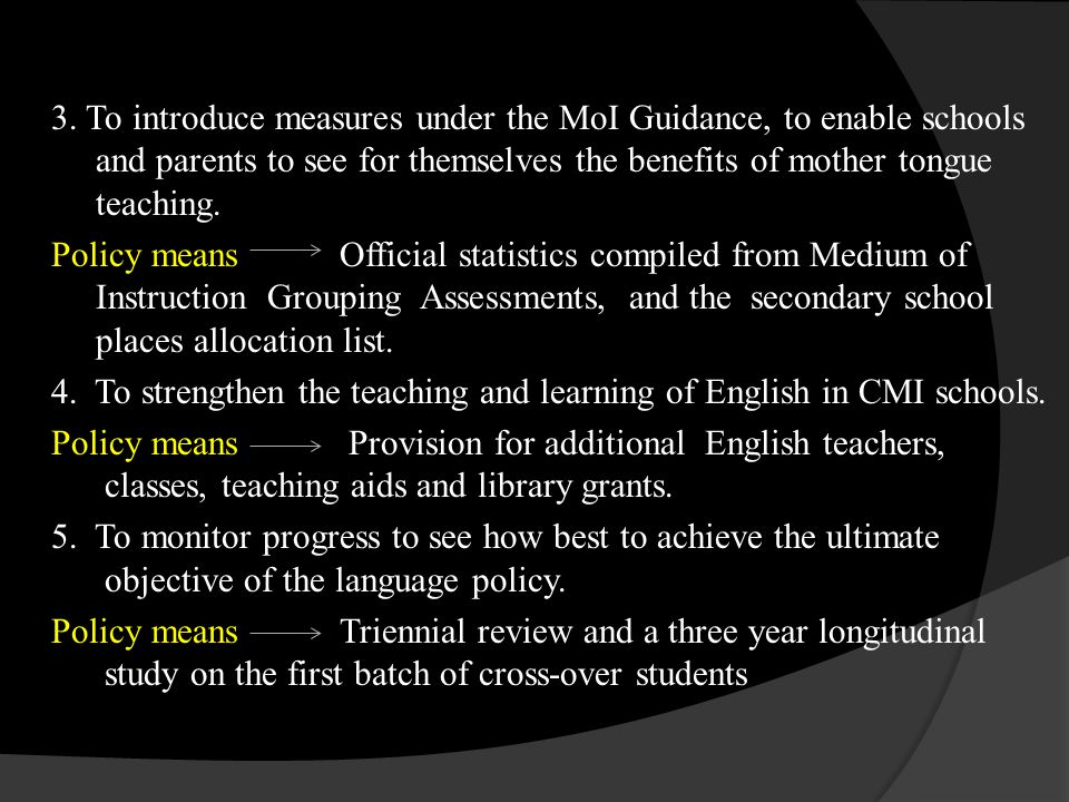 The actual outcomes of this policy can be argued through two developments: The Education commission Report reviewing the MoI for secondary schools and the secondary school places allocation(2005).