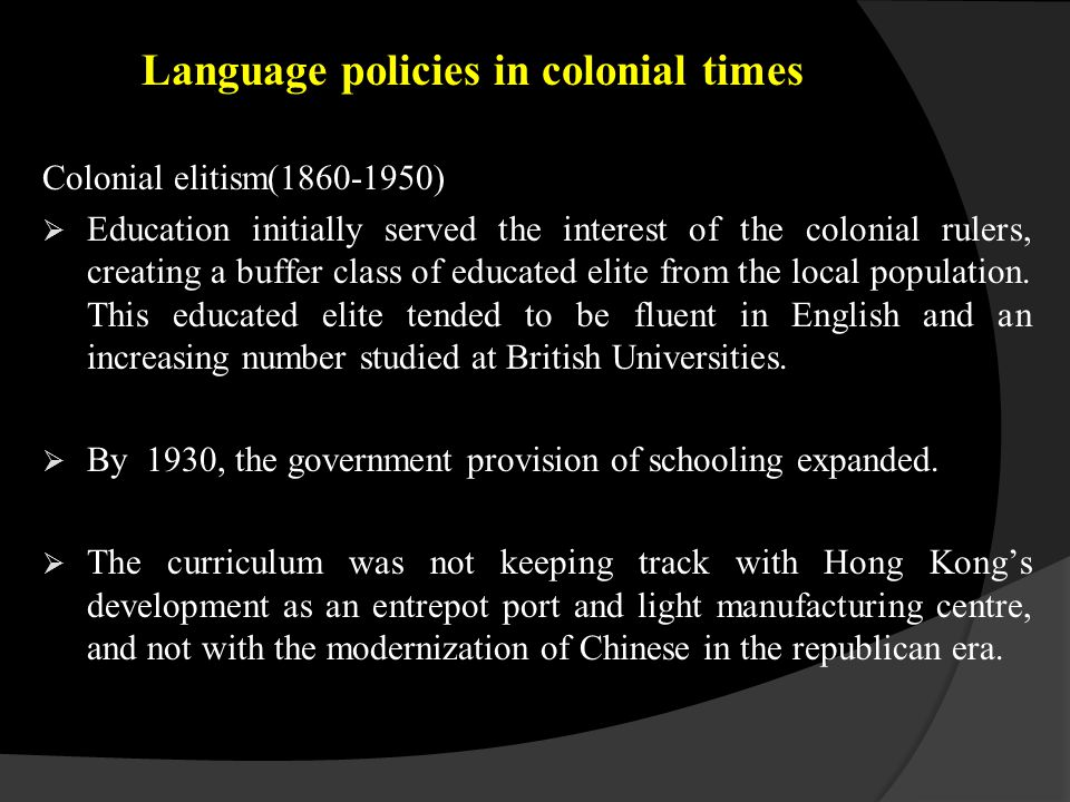 In 1950, the government permitted the establishment of schools using Chinese as the medium of instruction (CMI) to serve for the burgeoning population, while maintaining a large proportion of English-medium (EMI) schools.