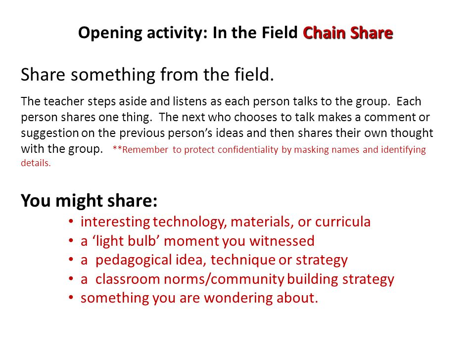 Opening activity: In the Field Chain Share Share something from the field.