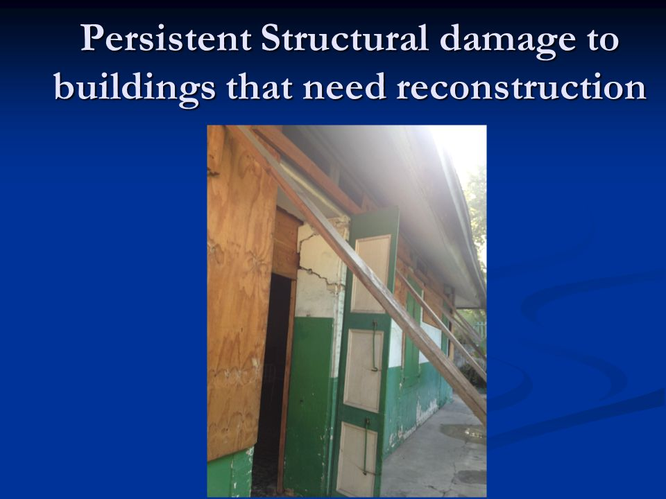 Persistent Structural damage to buildings that need reconstruction