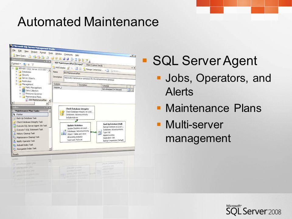 Automated Maintenance SQL Server Agent Jobs, Operators, and Alerts Maintenance Plans Multi-server management