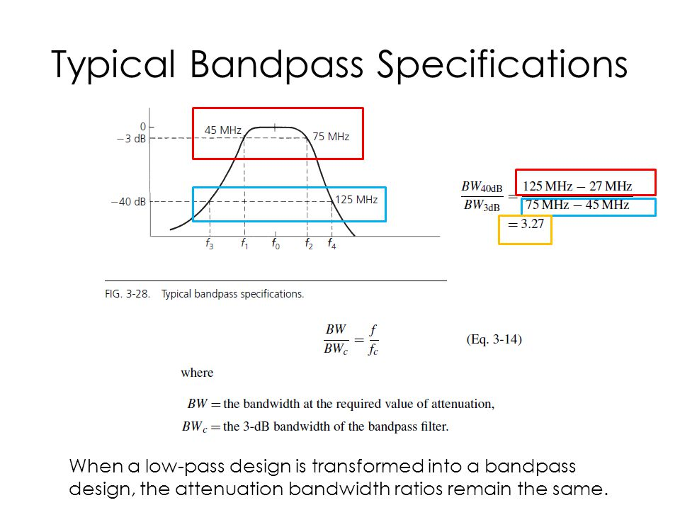 Typical Bandpass Specifications When a low-pass design is transformed into a bandpass design, the attenuation bandwidth ratios remain the same.
