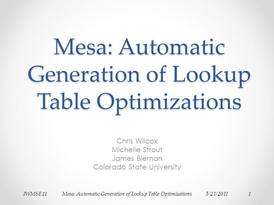 IWMSE11Mesa: Automatic Generation of Lookup Table Optimizations5/21/20112Problem Scientific codes often require extensive tuning to perform well on multicore systems.