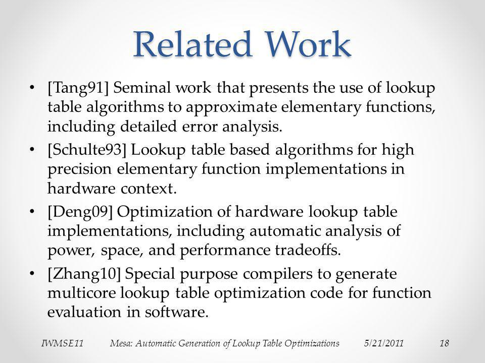 IWMSE11Mesa: Automatic Generation of Lookup Table Optimizations5/21/201118 Related Work [Tang91] Seminal work that presents the use of lookup table algorithms to approximate elementary functions, including detailed error analysis.