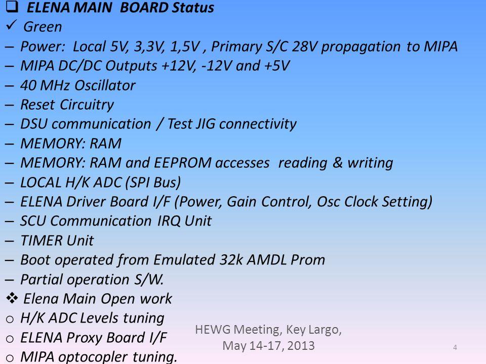 HEWG Meeting, Key Largo, May 14-17, 2013 5 ELENA on the AIV CGS bench