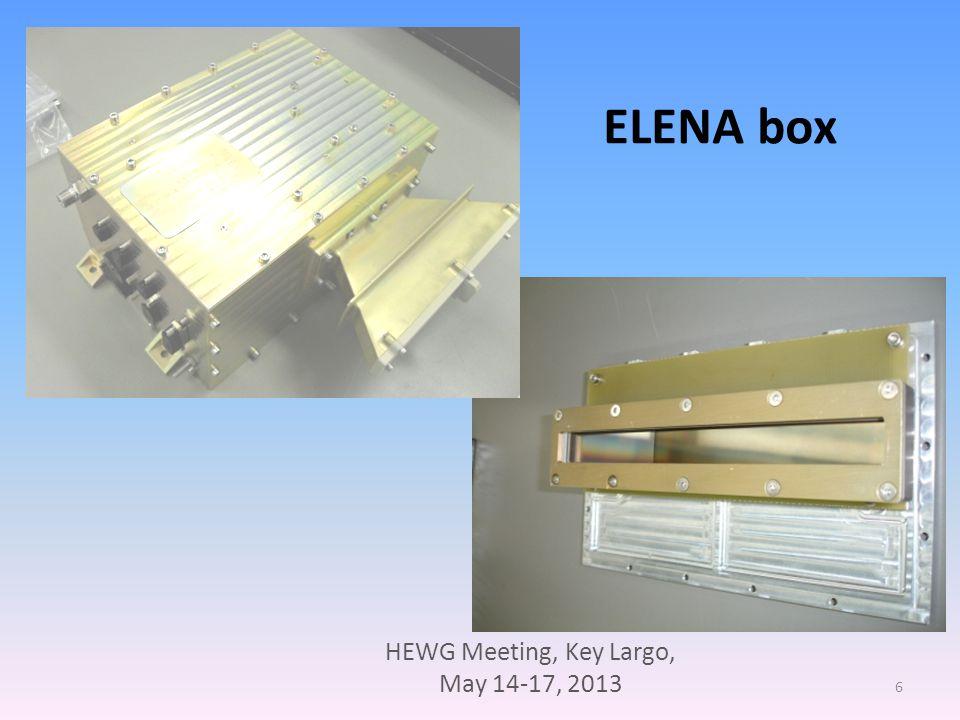 HEWG Meeting, Key Largo, May 14-17, 2013 17 ELENA Proxy Test Report ELENA Proxy Status o Assembling completed o Test in progress