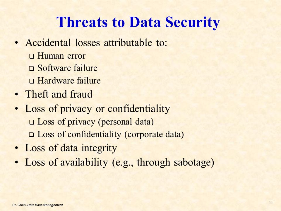 Dr. Chen, Data Base Management 11 Threats to Data Security Accidental losses attributable to: Human error Software failure Hardware failure Theft and