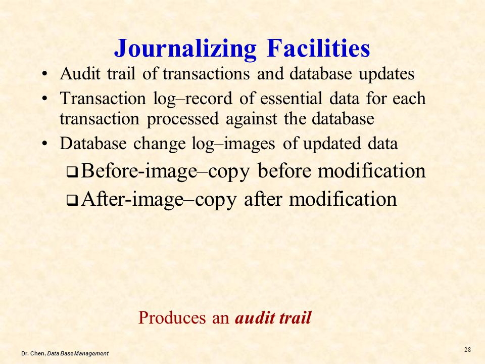 Dr. Chen, Data Base Management 28 Journalizing Facilities Audit trail of transactions and database updates Transaction log–record of essential data fo