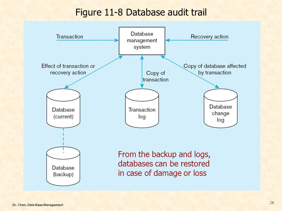 Dr. Chen, Data Base Management 29 Figure 11-8 Database audit trail From the backup and logs, databases can be restored in case of damage or loss