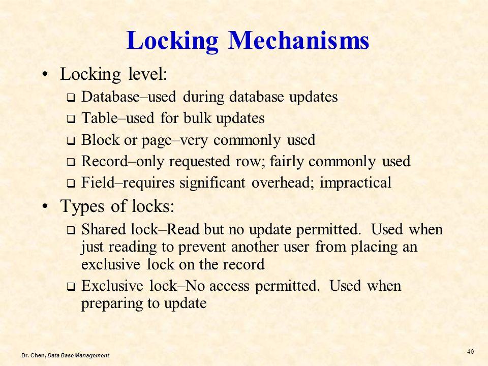 Dr. Chen, Data Base Management 40 Locking Mechanisms Locking level: Database–used during database updates Table–used for bulk updates Block or page–ve