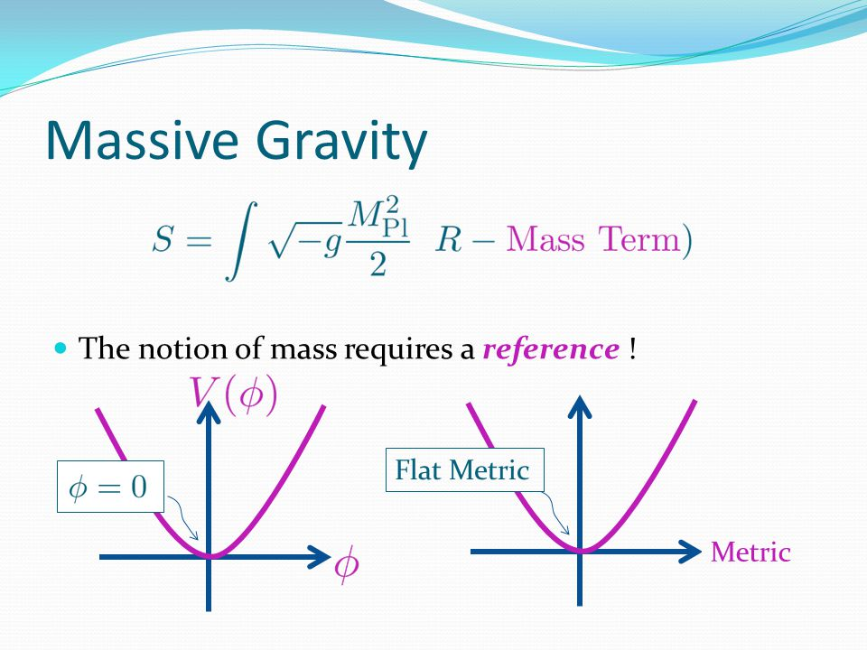 (Partially) massless limit Massless limit Partially Massless limit GR + mass term Recover 4d diff invariance GR 2 dof (helicity 2) GR + mass term Recover 1 symmetry Massive GR 4 dof (helicity 2 &1)
