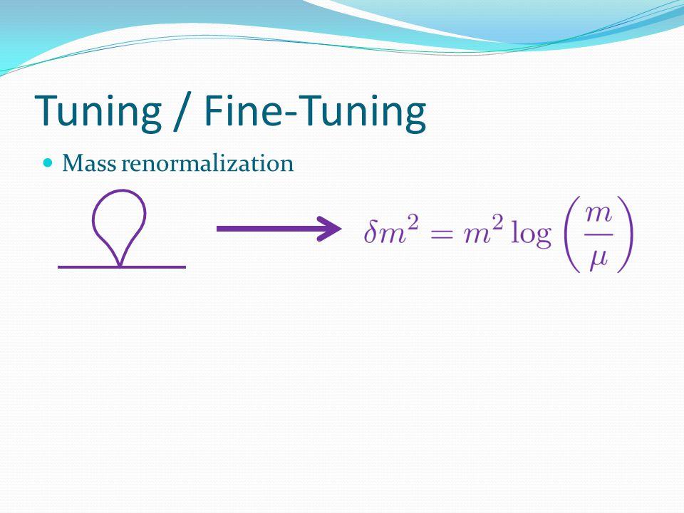 Tuning / Fine-Tuning Mass renormalization