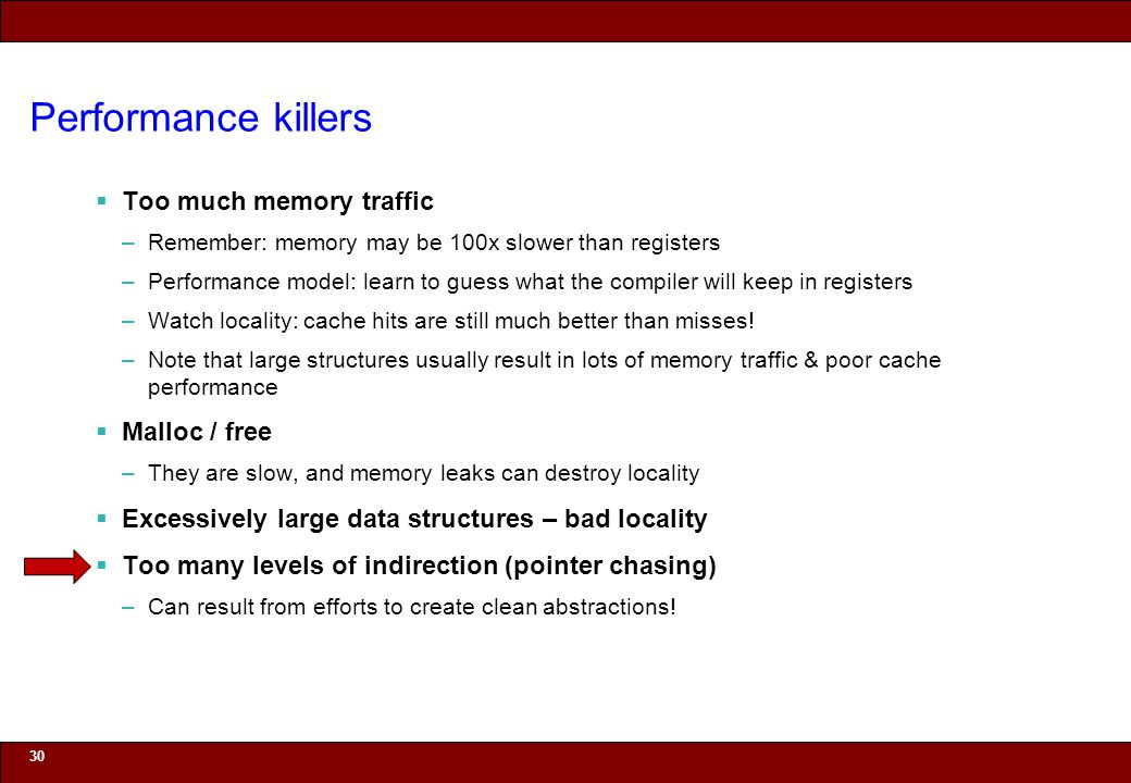 © 2010 Noah Mendelsohn Performance killers Too much memory traffic –Remember: memory may be 100x slower than registers –Performance model: learn to guess what the compiler will keep in registers –Watch locality: cache hits are still much better than misses.