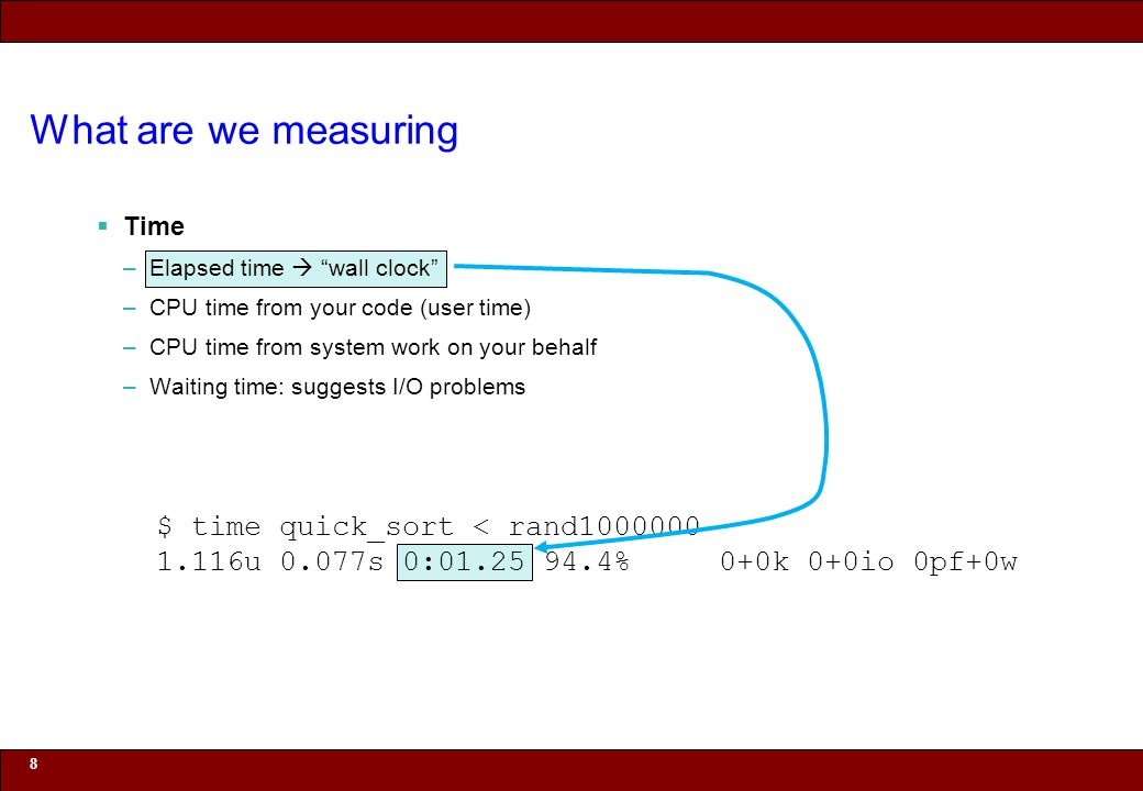 © 2010 Noah Mendelsohn What are we measuring Time –Elapsed time wall clock –CPU time from your code (user time) –CPU time from system work on your behalf –Waiting time: suggests I/O problems 9 $ time quick_sort < rand1000000 1.116u 0.077s 0:01.25 94.4% 0+0k 0+0io 0pf+0w