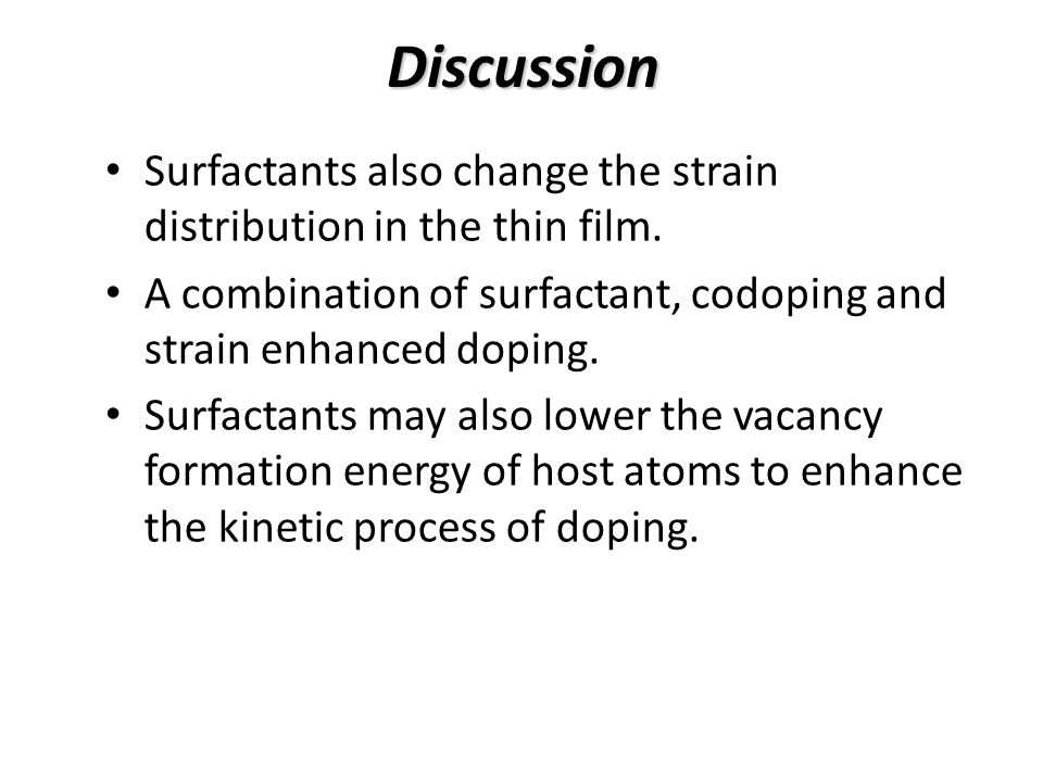 Discussion Surfactants also change the strain distribution in the thin film.