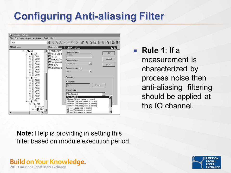 Configuring Anti-aliasing Filter Rule 1: If a measurement is characterized by process noise then anti-aliasing filtering should be applied at the IO channel.