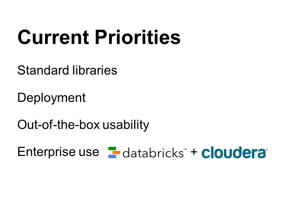 Current Priorities Standard libraries Deployment Out-of-the-box usability Enterprise use +