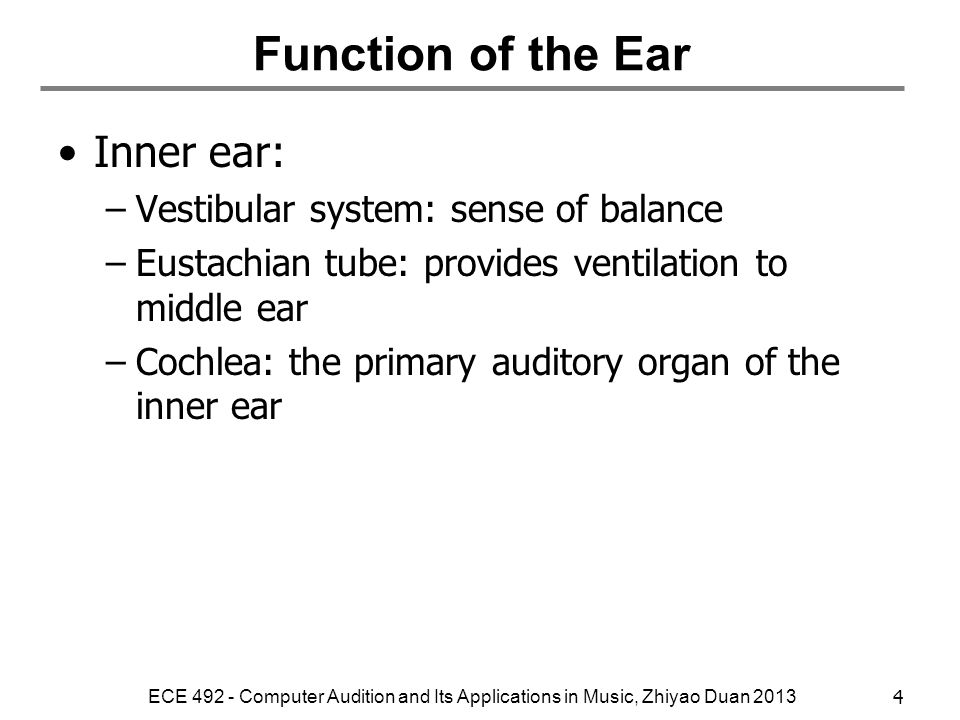 Function of the Ear Outer ear: shape the sound spectrum –Torso, head, pinna: head-related transfer function (HRTF). Interaural difference. –Concha, ca