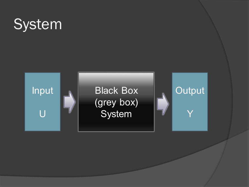 System Input U Black Box (grey box) System Output Y
