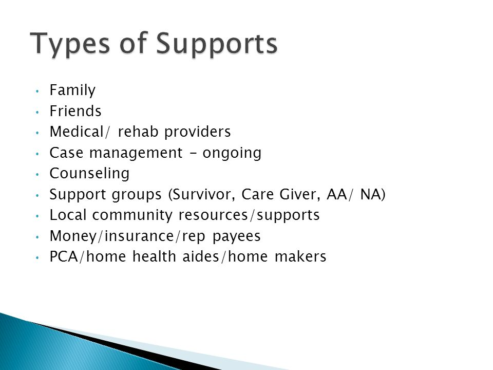 Family Friends Medical/ rehab providers Case management - ongoing Counseling Support groups (Survivor, Care Giver, AA/ NA) Local community resources/supports Money/insurance/rep payees PCA/home health aides/home makers