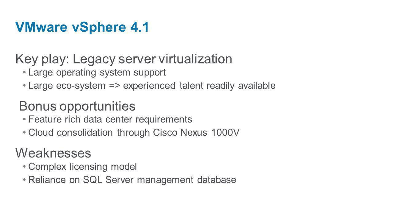 Key play: Legacy server virtualization Large operating system support Large eco-system => experienced talent readily available Bonus opportunities Feature rich data center requirements Cloud consolidation through Cisco Nexus 1000V Weaknesses Complex licensing model Reliance on SQL Server management database VMware vSphere 4.1