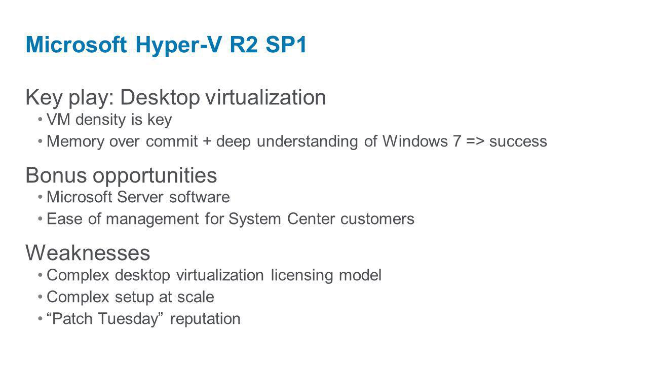 Key play: Desktop virtualization VM density is key Memory over commit + deep understanding of Windows 7 => success Bonus opportunities Microsoft Serve
