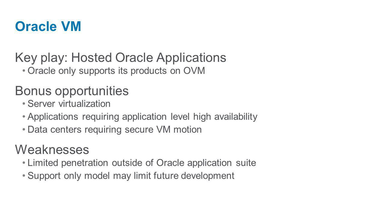 Key play: Hosted Oracle Applications Oracle only supports its products on OVM Bonus opportunities Server virtualization Applications requiring application level high availability Data centers requiring secure VM motion Weaknesses Limited penetration outside of Oracle application suite Support only model may limit future development Oracle VM