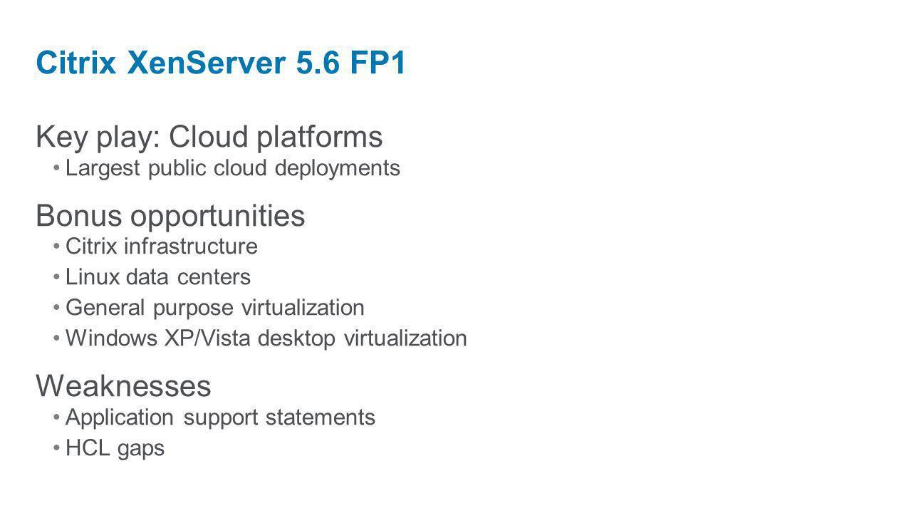 Key play: Cloud platforms Largest public cloud deployments Bonus opportunities Citrix infrastructure Linux data centers General purpose virtualization
