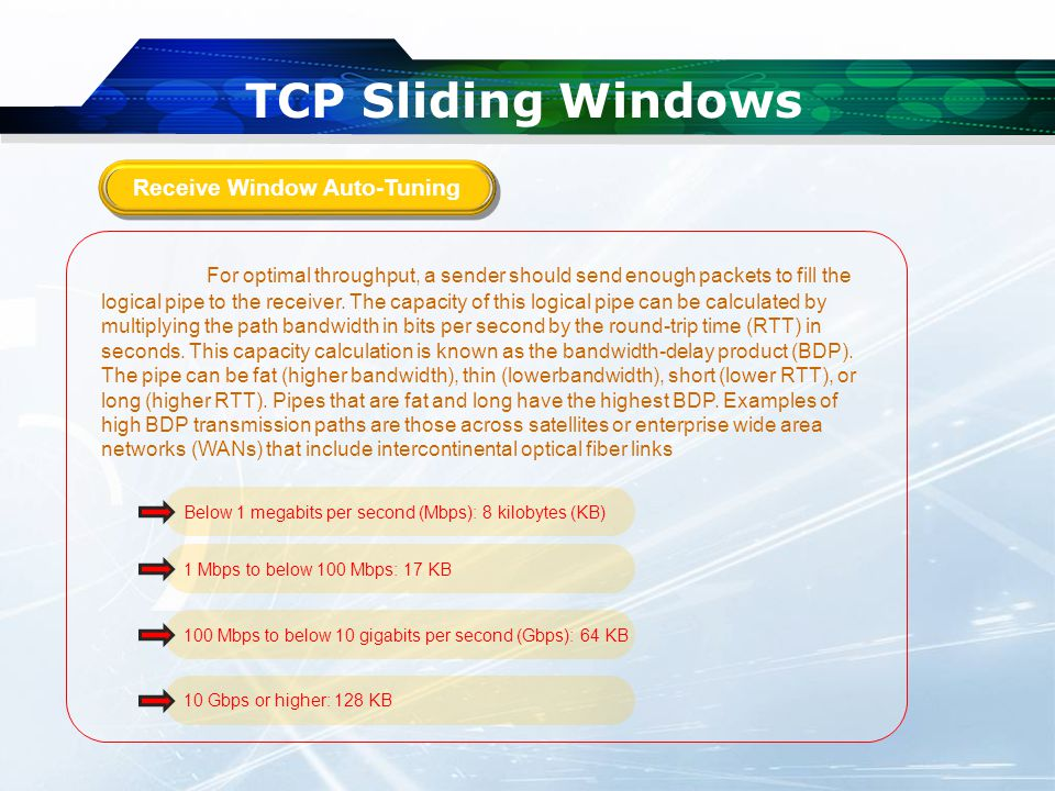 TCP Sliding Windows For optimal throughput, a sender should send enough packets to fill the logical pipe to the receiver.