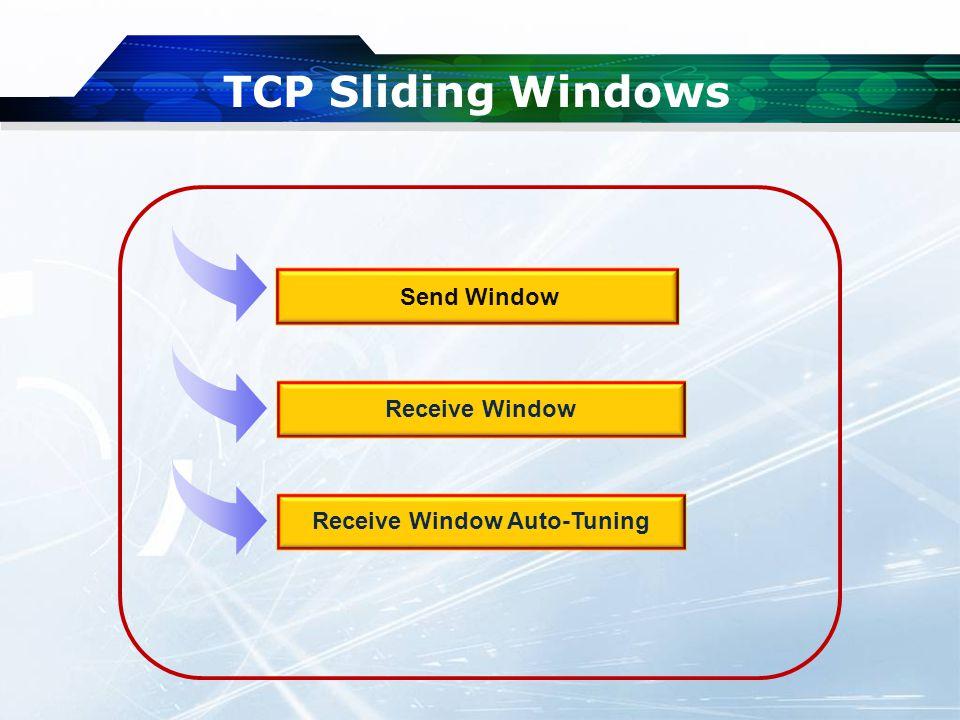 TCP Sliding Windows Send Window Receive Window Receive Window Auto-Tuning