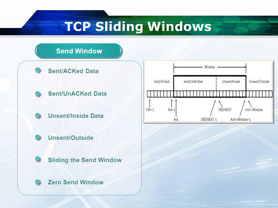 TCP Sliding Windows Sent/ACKed Data Sent/UnACKed Data Unsent/Inside Data Unsent/Outside Sliding the Send Window Zero Send Window Send Window