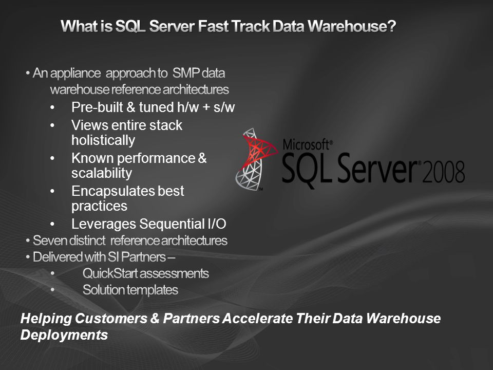 7 Microsoft NDA-only Software: SQL Server 2008 Enterprise Windows Server 2008 Hardware: Tight specifications for servers, storage and networking Per core building block Configuration guidelines: Physical table structures Indexes Compression SQL Server settings Windows Server settings Loading