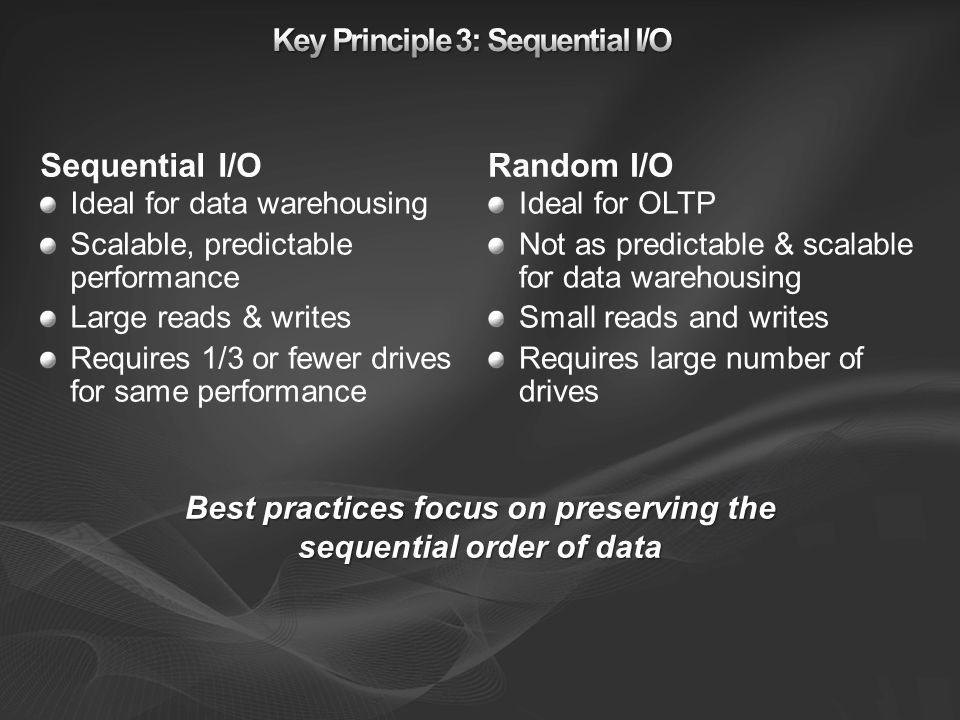 Sequential I/O Ideal for data warehousing Scalable, predictable performance Large reads & writes Requires 1/3 or fewer drives for same performance Ran