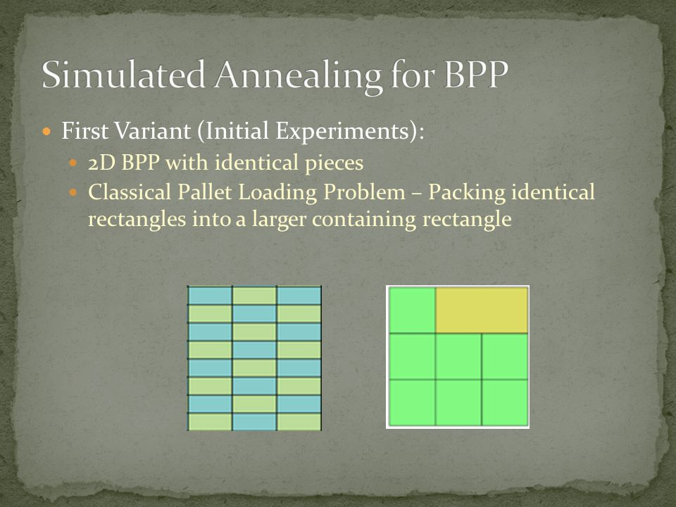 First Variant (Initial Experiments): 2D BPP with identical pieces Classical Pallet Loading Problem – Packing identical rectangles into a larger containing rectangle