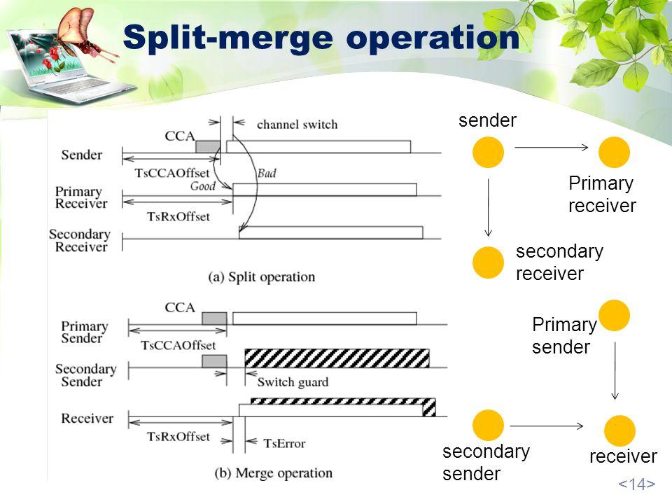 Split-merge operation sender Primary receiver secondary receiver receiver Primary sender secondary sender