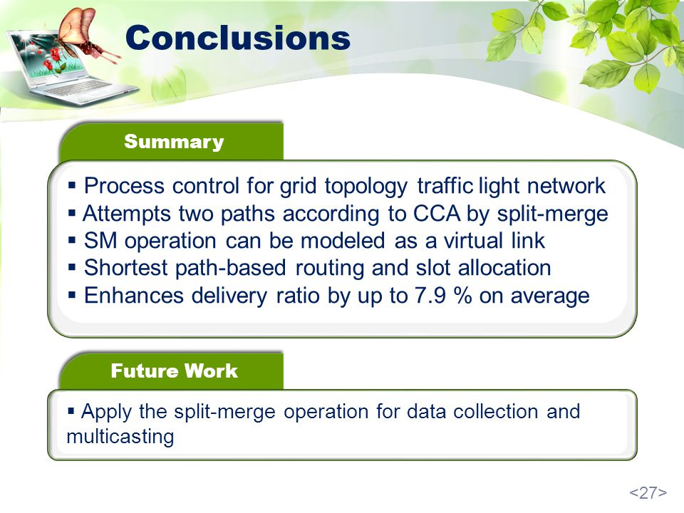Conclusions Summary Process control for grid topology traffic light network Attempts two paths according to CCA by split-merge SM operation can be modeled as a virtual link Shortest path-based routing and slot allocation Enhances delivery ratio by up to 7.9 % on average Future Work Apply the split-merge operation for data collection and multicasting