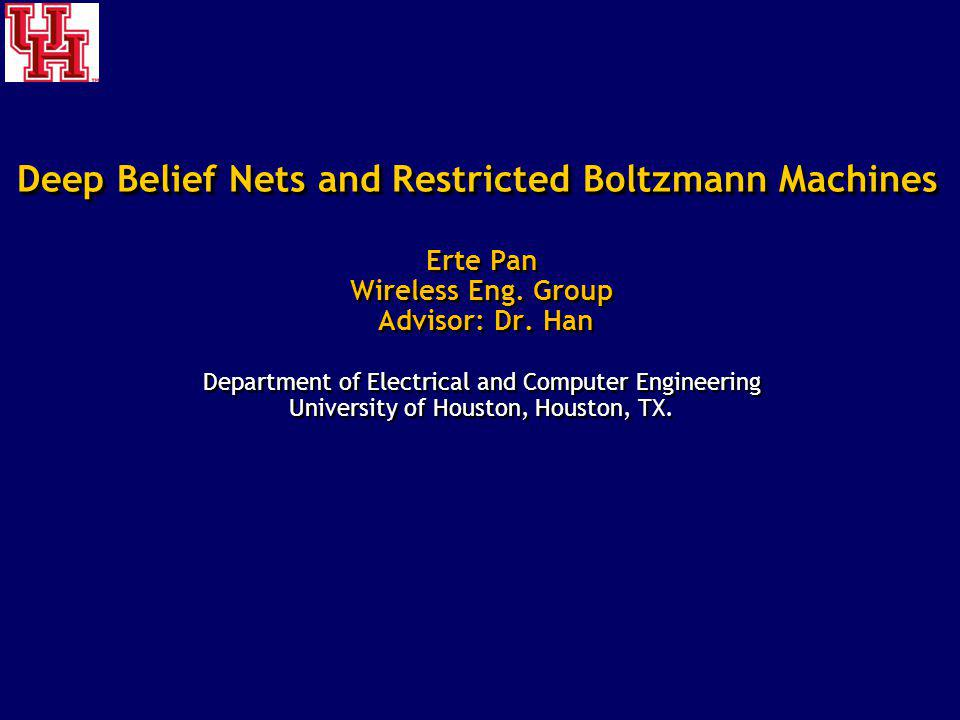 Erte Pan Wireless Eng. Group Advisor: Dr. Han Department of Electrical and Computer Engineering University of Houston, Houston, TX. Erte Pan Wireless