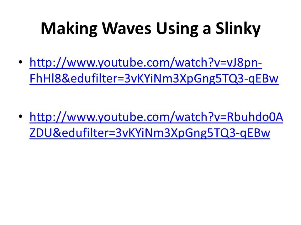 Making Waves Using a Slinky http://www.youtube.com/watch?v=vJ8pn- FhHl8&edufilter=3vKYiNm3XpGng5TQ3-qEBw http://www.youtube.com/watch?v=vJ8pn- FhHl8&edufilter=3vKYiNm3XpGng5TQ3-qEBw http://www.youtube.com/watch?v=Rbuhdo0A ZDU&edufilter=3vKYiNm3XpGng5TQ3-qEBw http://www.youtube.com/watch?v=Rbuhdo0A ZDU&edufilter=3vKYiNm3XpGng5TQ3-qEBw