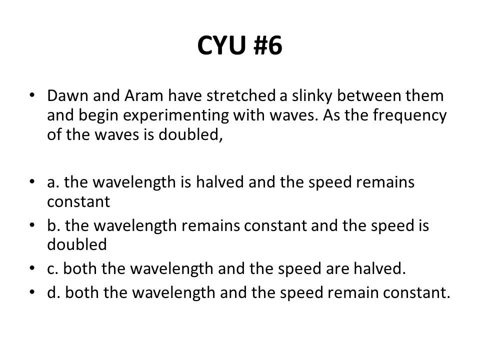 CYU #6 Dawn and Aram have stretched a slinky between them and begin experimenting with waves.