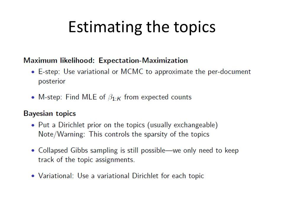 Estimating the topics