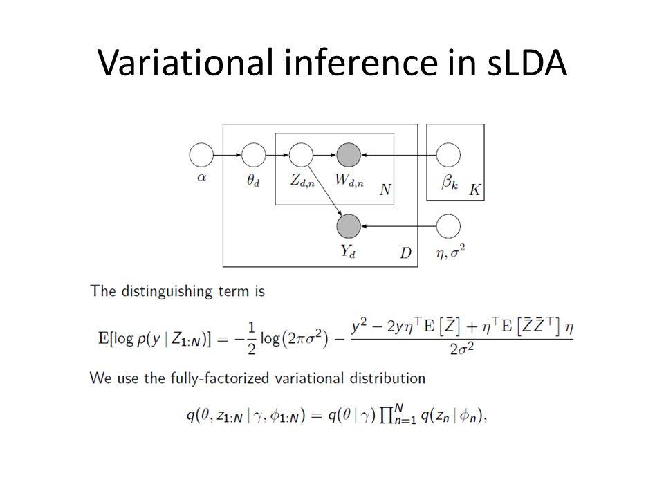 Variational inference in sLDA