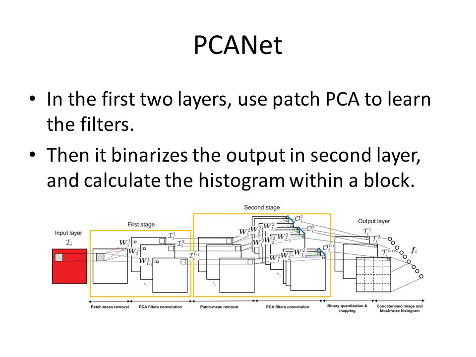 PCANet In the first two layers, use patch PCA to learn the filters. Then it binarizes the output in second layer, and calculate the histogram within a