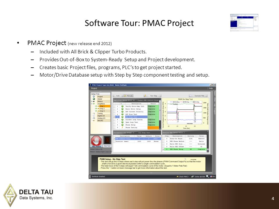 Software Tour: PMAC Project PMAC Project (new release end 2012) – Included with All Brick & Clipper Turbo Products. – Provides Out-of-Box to System-Re