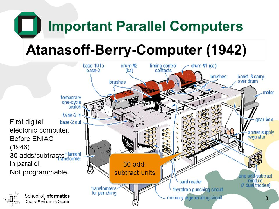 Chair of Programming Systems School of Informatics Important Parallel Computers Atanasoff-Berry-Computer (1942) 30 add- subtract units First digital, electonic computer.