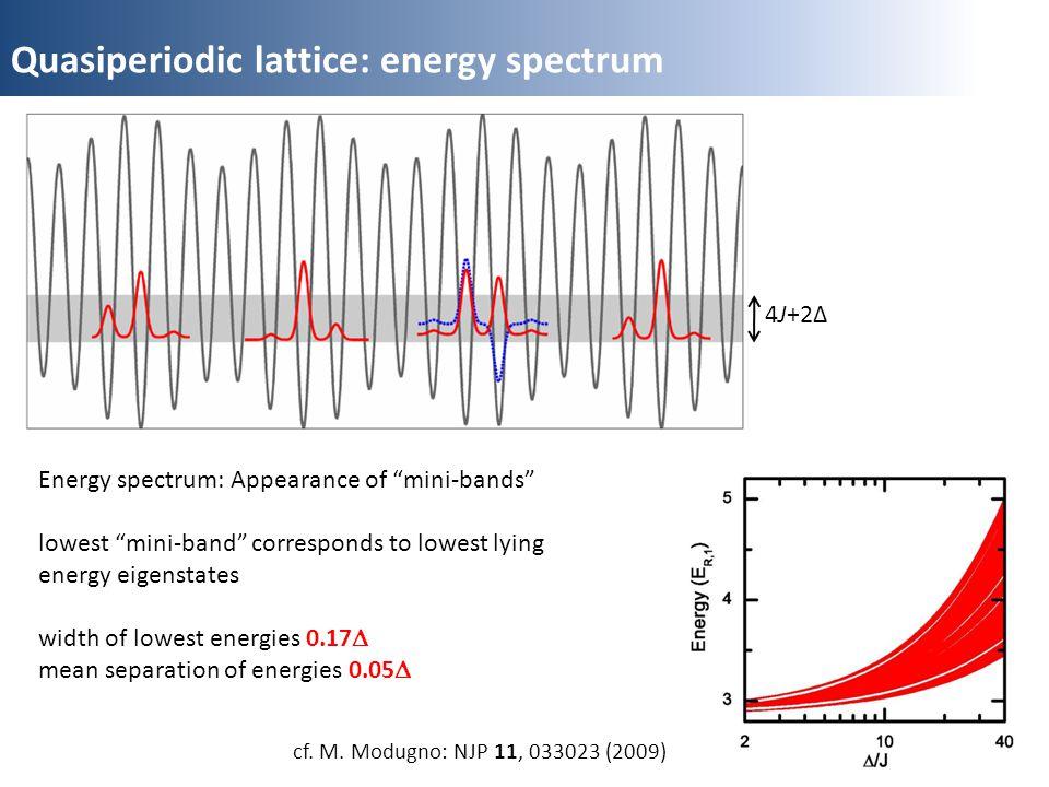Quasiperiodic lattice: energy spectrum 4J+2Δ cf. M. Modugno: NJP 11, 033023 (2009) Energy spectrum: Appearance of mini-bands lowest mini-band correspo