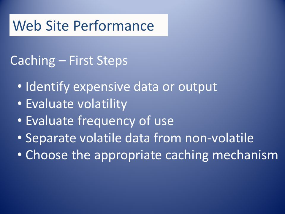 Caching Output Caching Data Caching Cache Dependencies Web Site Performance Demos…