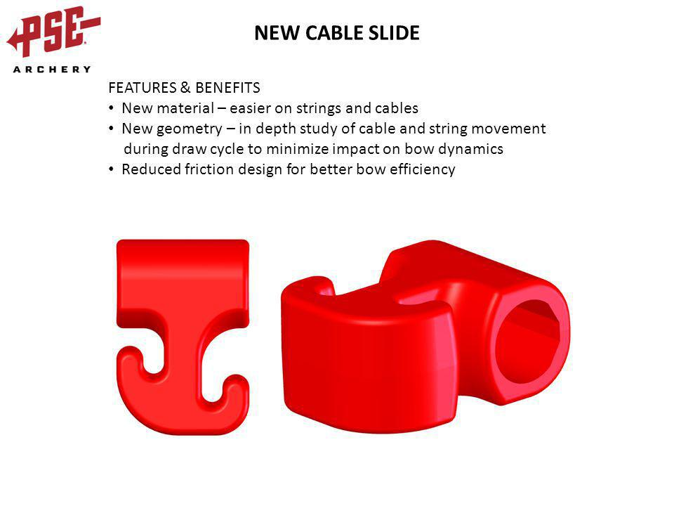 NEW CABLE SLIDE FEATURES & BENEFITS New material – easier on strings and cables New geometry – in depth study of cable and string movement during draw