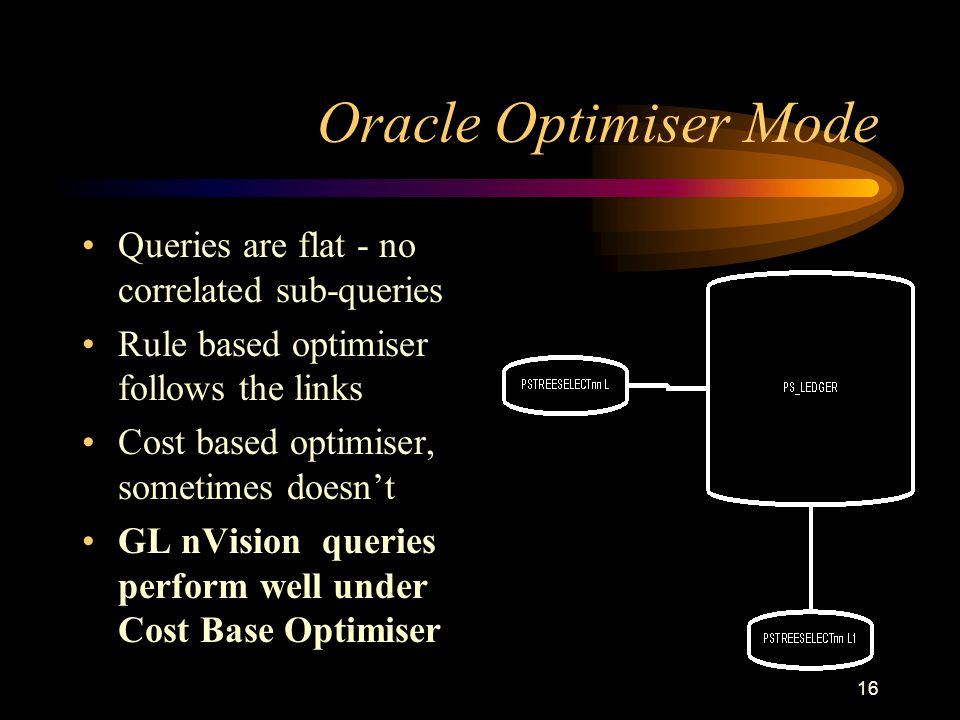 16 Oracle Optimiser Mode Queries are flat - no correlated sub-queries Rule based optimiser follows the links Cost based optimiser, sometimes doesnt GL nVision queries perform well under Cost Base Optimiser