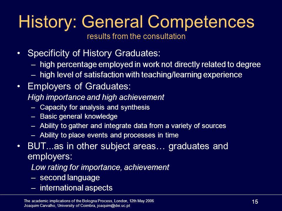 The academic implications of the Bologna Process, London, 12th May 2006 Joaquim Carvalho, University of Coimbra, joaquim@dei.uc.pt 15 History: General Competences results from the consultation Specificity of History Graduates: –high percentage employed in work not directly related to degree –high level of satisfaction with teaching/learning experience Employers of Graduates: High importance and high achievement –Capacity for analysis and synthesis –Basic general knowledge –Ability to gather and integrate data from a variety of sources –Ability to place events and processes in time BUT...as in other subject areas… graduates and employers: Low rating for importance, achievement –second language –international aspects