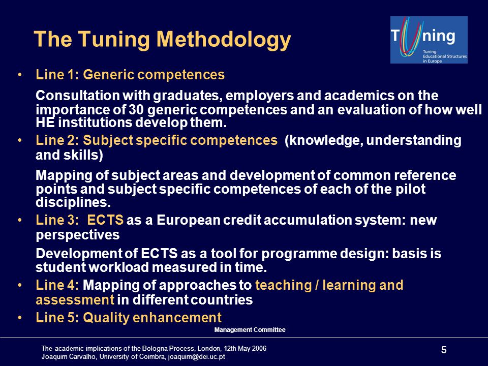 The academic implications of the Bologna Process, London, 12th May 2006 Joaquim Carvalho, University of Coimbra, joaquim@dei.uc.pt 5 The Tuning Methodology Line 1: Generic competences Consultation with graduates, employers and academics on the importance of 30 generic competences and an evaluation of how well HE institutions develop them.